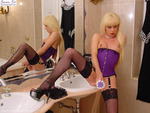 Purple Corset and Fishnets
